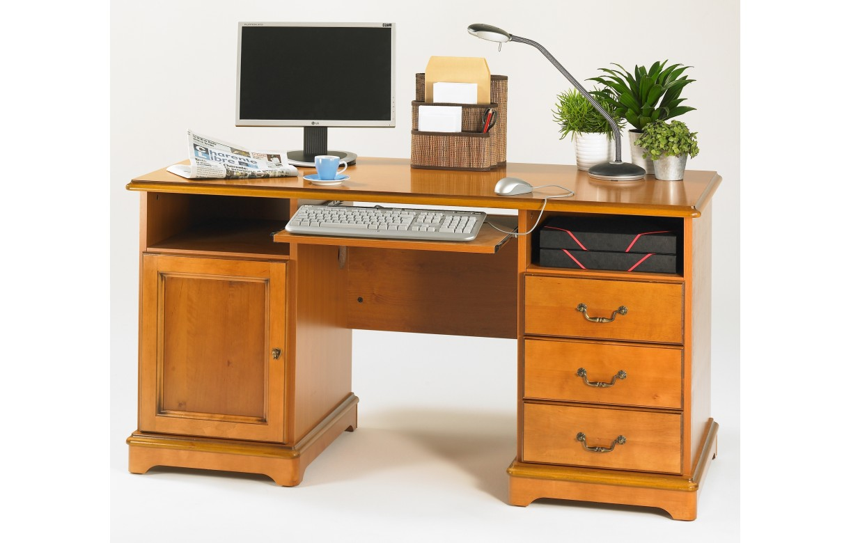 bureau ministre informatique en bois merisier lyon decome store. Black Bedroom Furniture Sets. Home Design Ideas