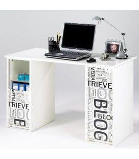 Bureau blanc ou taupe avec caissons et rideau 4 coloris BLOG -