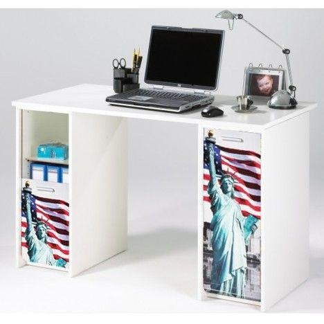 Bureau blanc avec caissons et rideau imprimé 4 coloris Statue USA -
