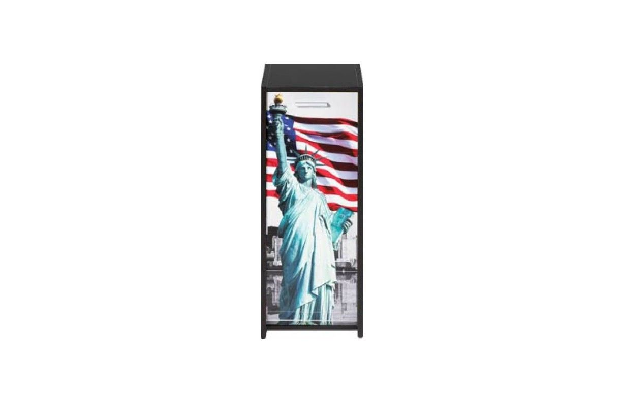 Bureau blanc avec caissons et rideau imprim 4 coloris statue usa decome store - Store imprime photo ...