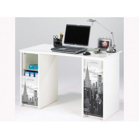 Bureau avec caissons et rideau imprimé New York 4 coloris -