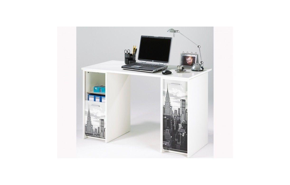 Bureau noir avec caissons et rideau imprim new york 4 coloris for Bureau new york
