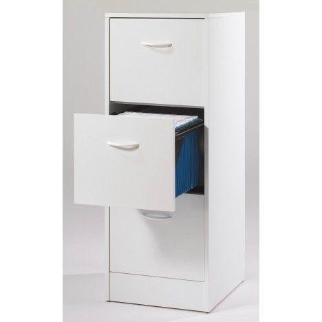 Classeur de rangement Chene 3 tiroirs à dossiers suspendus 7 coloris -