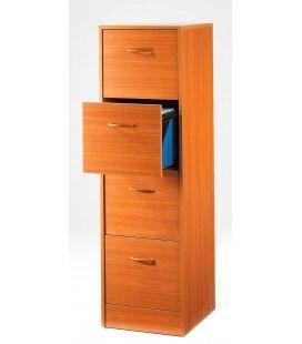 Rangement de bureau en bois Merisier 4 tiroirs à dossiers suspendus 6 coloris