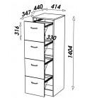 Rangement de bureau en bois Merisier 4 tiroirs à dossiers suspendus 6 coloris -