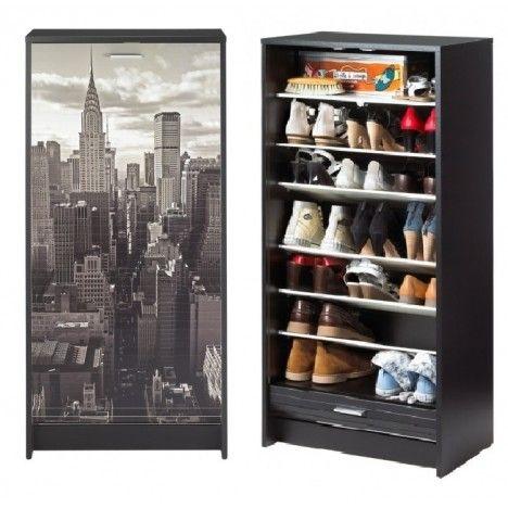 Armoire a chaussures noir ou blanc à rideau déroulant 20 paires NEW YORK -