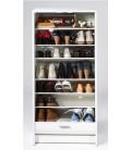 Range chaussures blanc ou noir à rideau déroulant 20 paires Zen BAMBOU -