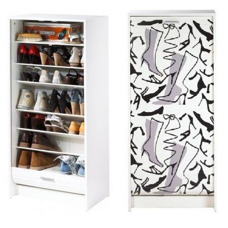 Armoire a chaussures blanc ou noir à rideau déroulant 21 paires BOTTES -