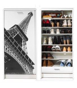 Meuble à chaussures blanc ou noir à rideau déroulant 21 paires Paris EIFFEL