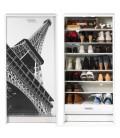Meuble à chaussures blanc ou noir à rideau déroulant 21 paires Paris EIFFEL -