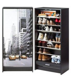 Meuble a chaussures noir ou blanc à rideau déroulant 21 paires TAXI New York -