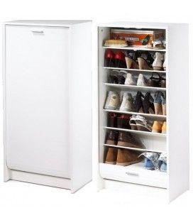 Meuble à chaussures blanc 20 paires avec rideau déroulant