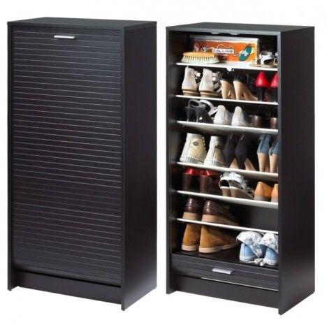 Meuble à chaussures Noir 20 paires avec rideau déroulant -