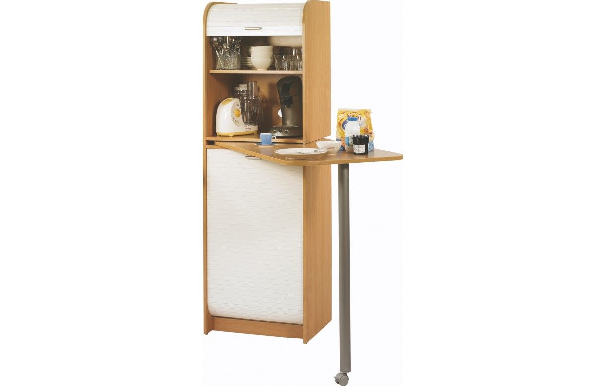 Meuble de cuisine avec table pivotante et rangements for Table de cuisine rangement