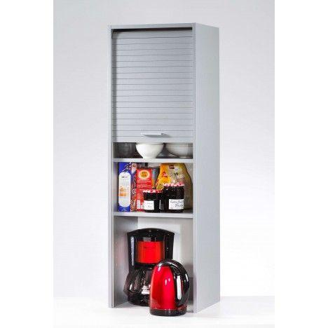 Meuble de cuisine aluminium ou blanc avec rangements à rideau déroulant COOKY -