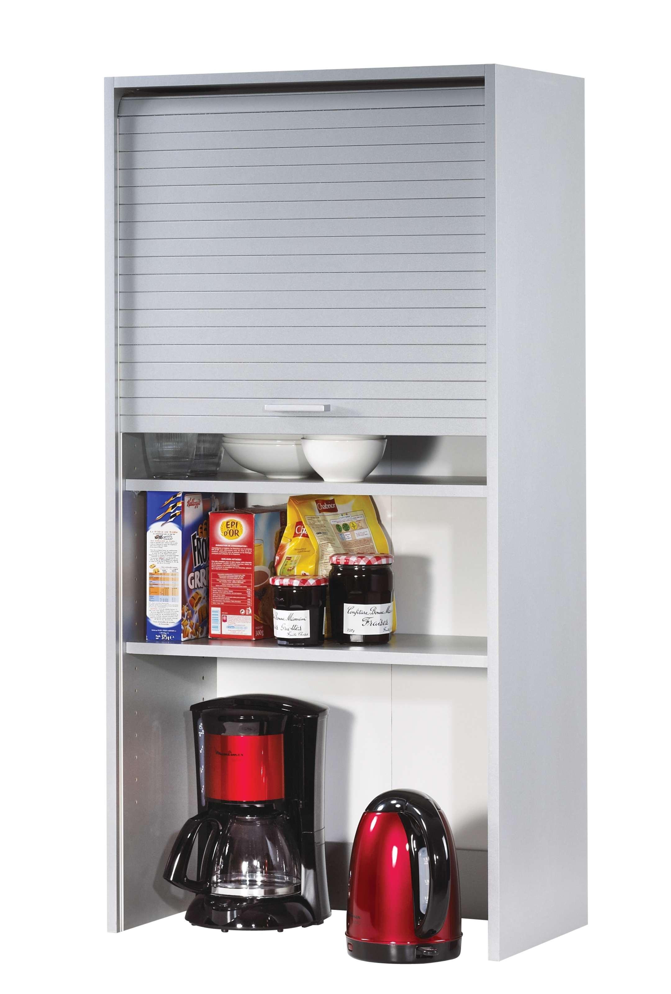 Rangement De Cuisine Aluminium Avec Rideau Déroulant Largeur Cm - Rideau roulant pour meuble de cuisine pour idees de deco de cuisine