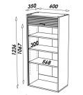 Rangement de cuisine aluminium avec rideau déroulant Largeur 60cm -