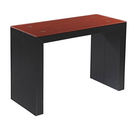 Table verre noir extensible maison design for Table console extensible rallonges incorporees