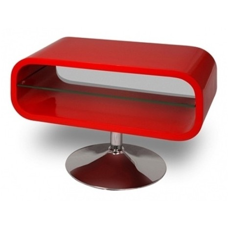 Meuble tv rouge laqu pivotant vintage look decome store - Meuble tv rouge laque ...