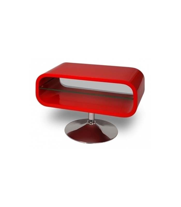 meuble tv rouge laqu pivotant vintage look decome store - Meuble Tele Rouge Laque