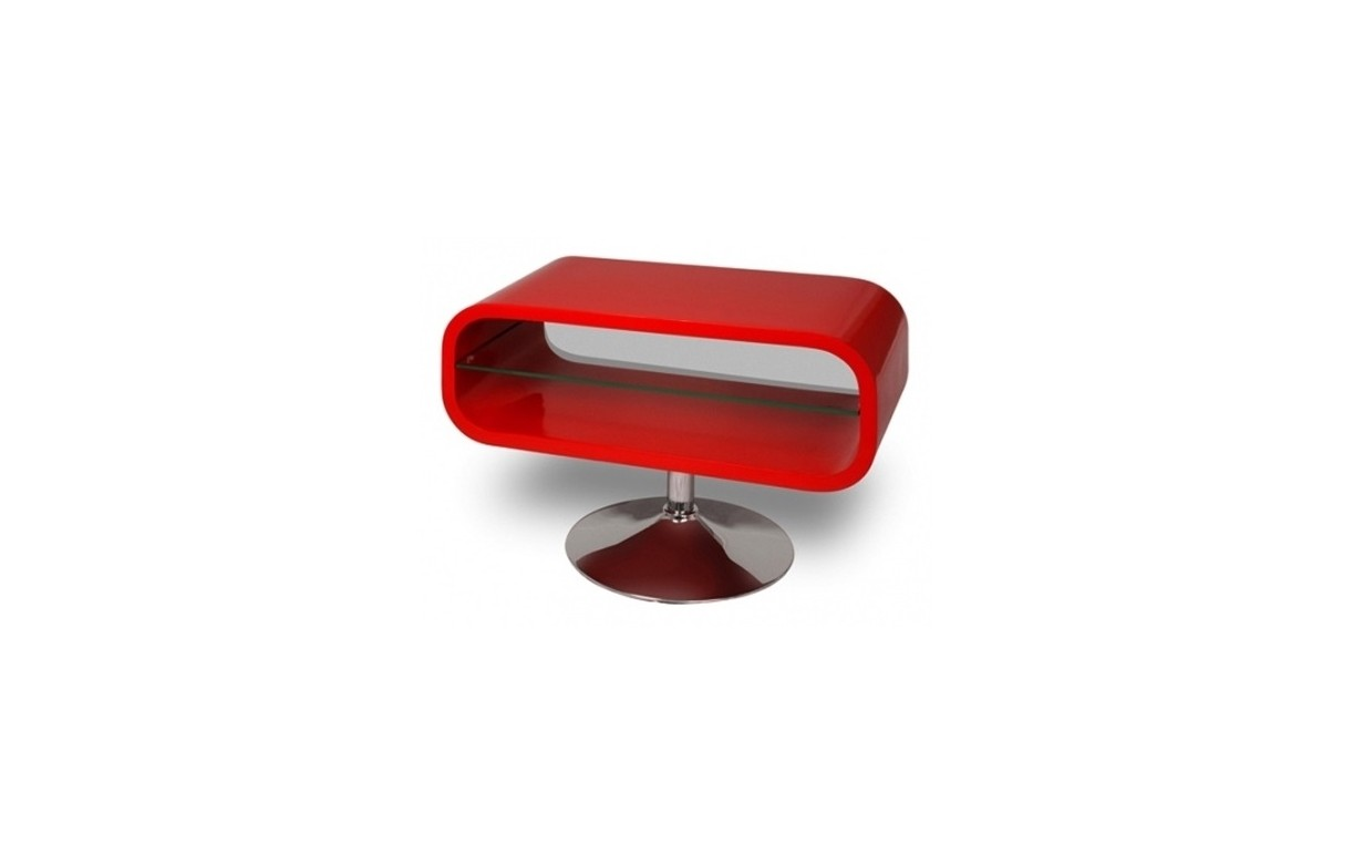 Meuble tv rouge laqu pivotant vintage look decome store for Meuble tv rouge