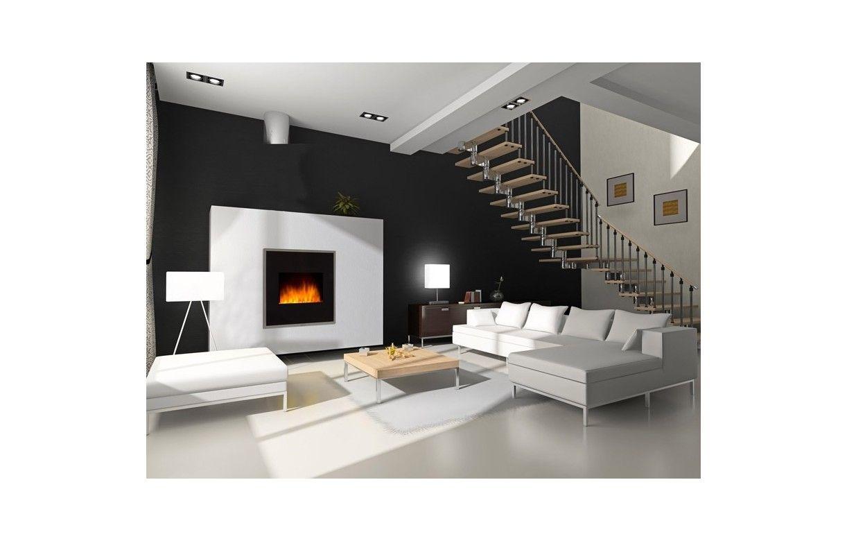 chemin e lectrique radiateur noir imitation feu. Black Bedroom Furniture Sets. Home Design Ideas