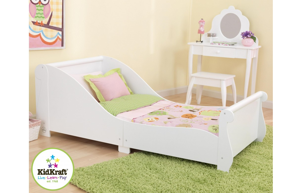 lit petite fille blanc traineau kidkraft 86730. Black Bedroom Furniture Sets. Home Design Ideas