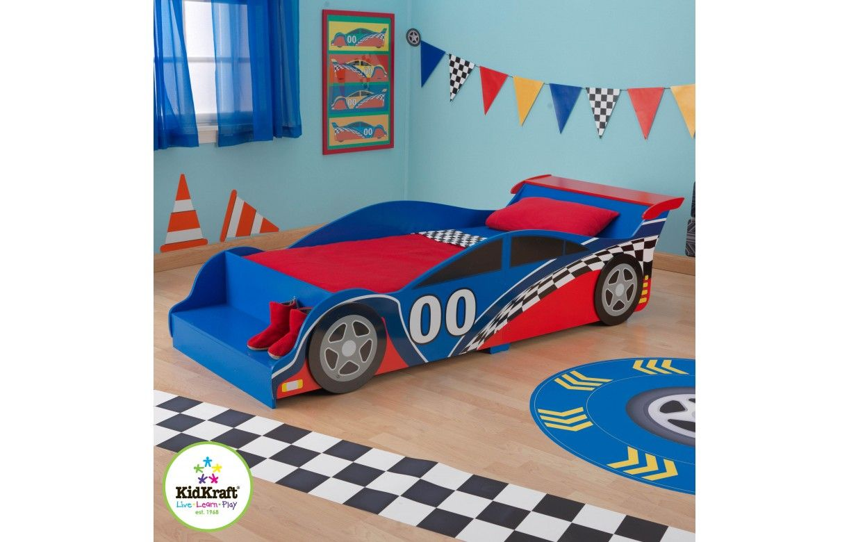 lit petit gar on bleu et rouge voiture kidkraft 76038. Black Bedroom Furniture Sets. Home Design Ideas