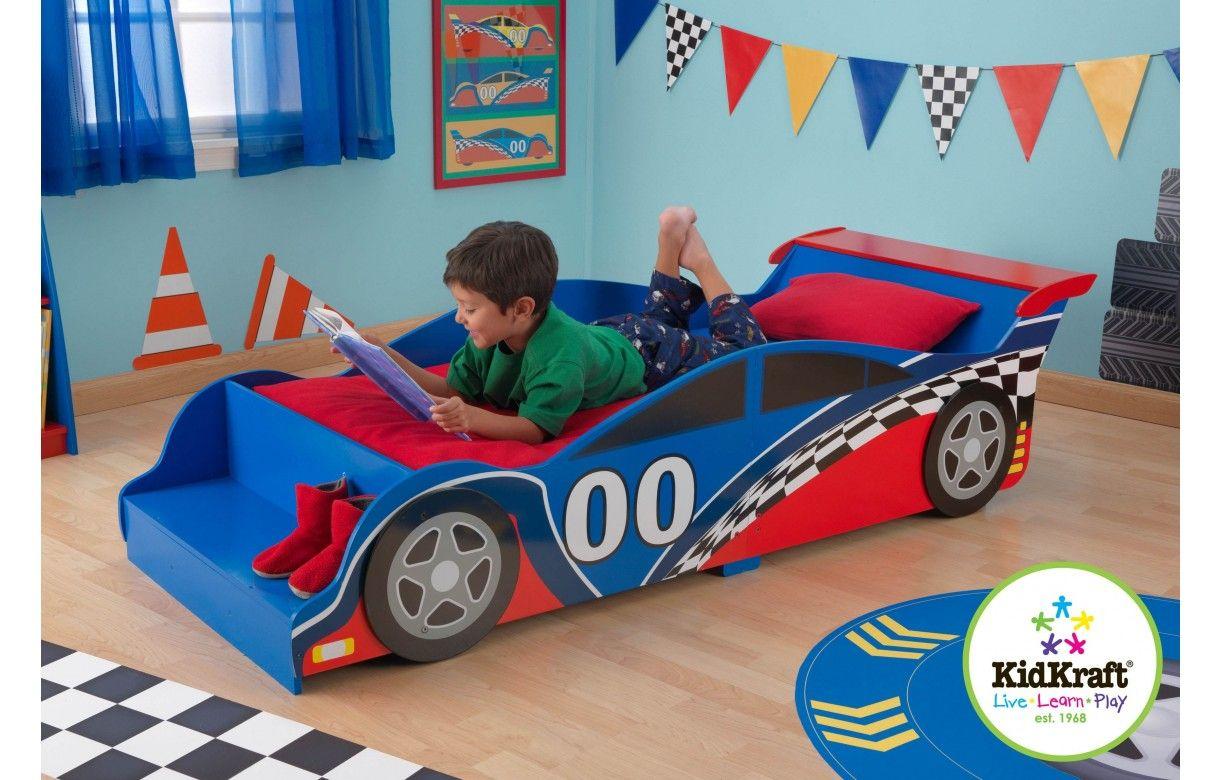 lit petit gar on bleu et rouge voiture formule 1 decome. Black Bedroom Furniture Sets. Home Design Ideas