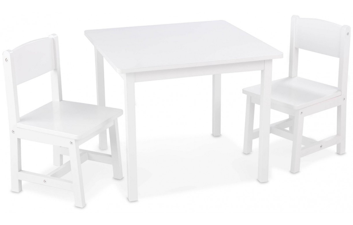 table et 2 chaises pour enfants en bois blanc aspen decome store. Black Bedroom Furniture Sets. Home Design Ideas