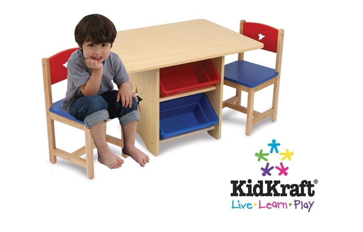 table et 2 chaises enfant bleu rouge kidkraft 26912. Black Bedroom Furniture Sets. Home Design Ideas