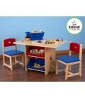 Table et 2 chaises pour enfants en bois avec rangements -