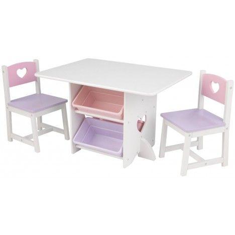 Table et 2 chaises pour petite fille en bois avec rangements pastel -