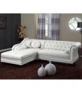 Canapé d'angle à gauche en cuir PU Blanc Chesterfield - 5 coloris -