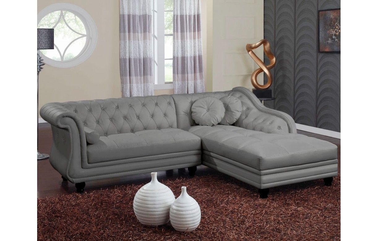canap d 39 angle droite en cuir pu gris chesterfield 5 coloris decome store. Black Bedroom Furniture Sets. Home Design Ideas