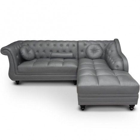 Canapé d'angle à droite en cuir PU Gris Chesterfield - 5 coloris -