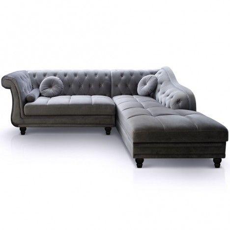 Canapé d'angle à droite en velours Argent Chesterfield - 3 coloris -