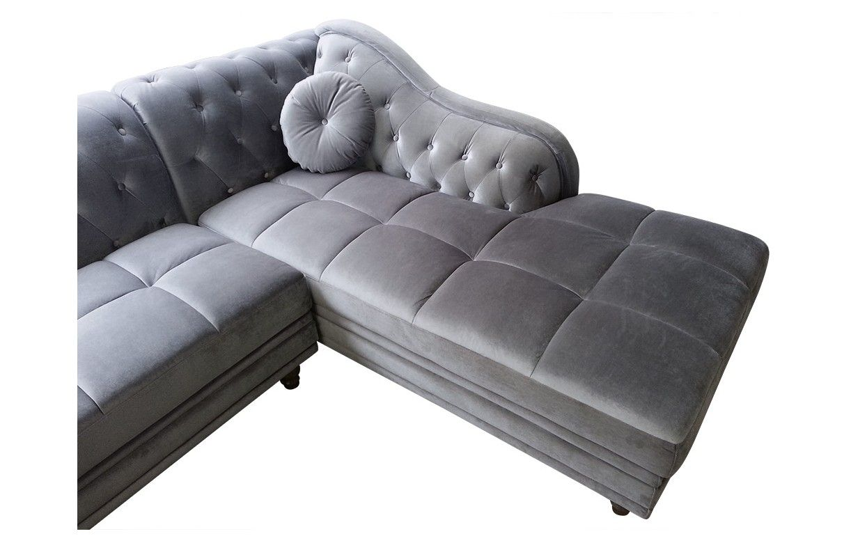 canap d 39 angle droite en velours argent chesterfield 3 coloris decome store. Black Bedroom Furniture Sets. Home Design Ideas