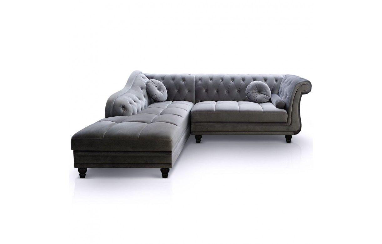 canap d 39 angle gauche en velours taupe chesterfield 3 coloris decome store. Black Bedroom Furniture Sets. Home Design Ideas