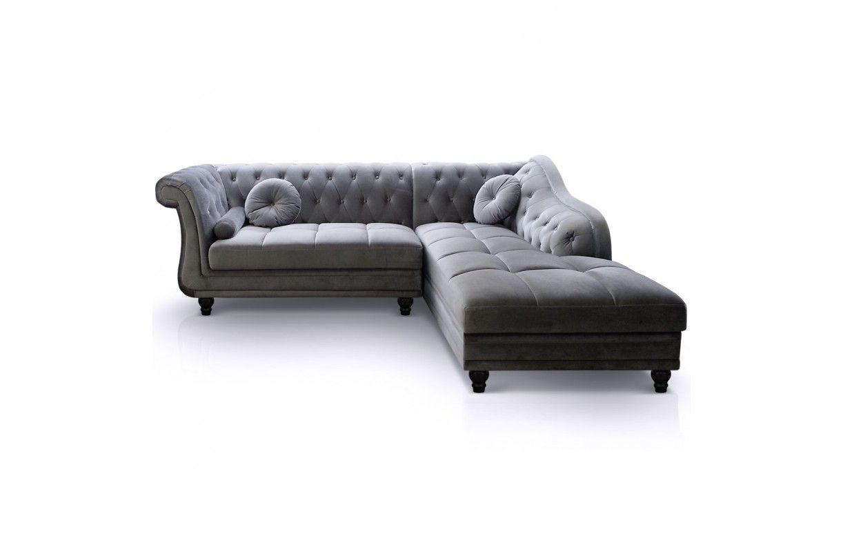 Canap d 39 angle droite en velours argent chesterfield 3 for Canape chesterfield en velours