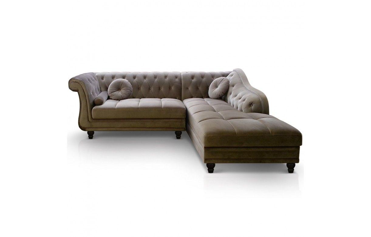 canap d 39 angle droite en velours argent chesterfield 3 coloris decome store. Black Bedroom Furniture Sets. Home Design Ideas
