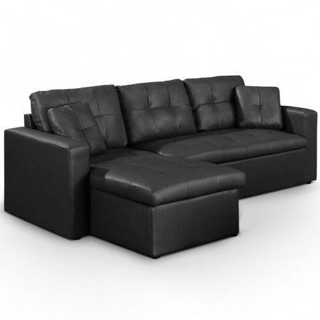 Canapé d'angle gauche ou droite en cuir PU convertible avec coffre - 5 coloris -
