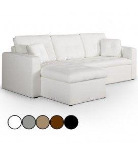 Canapé d'angle gauche ou droite en cuir PU convertible avec coffre - 5 coloris