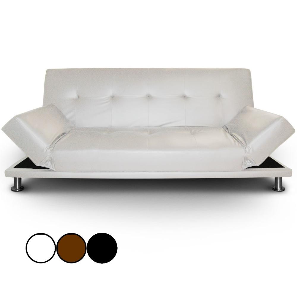 Canapélit En Simili Cuir Noir Avec Pieds Inox Liberty Decome Store - Canape en cuir blanc convertible