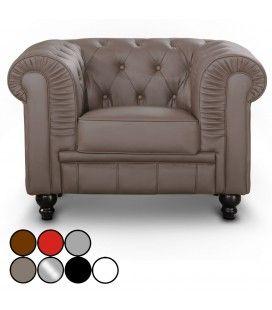 Fauteuil en simili cuir capitonné Chesterfield - 7 coloris