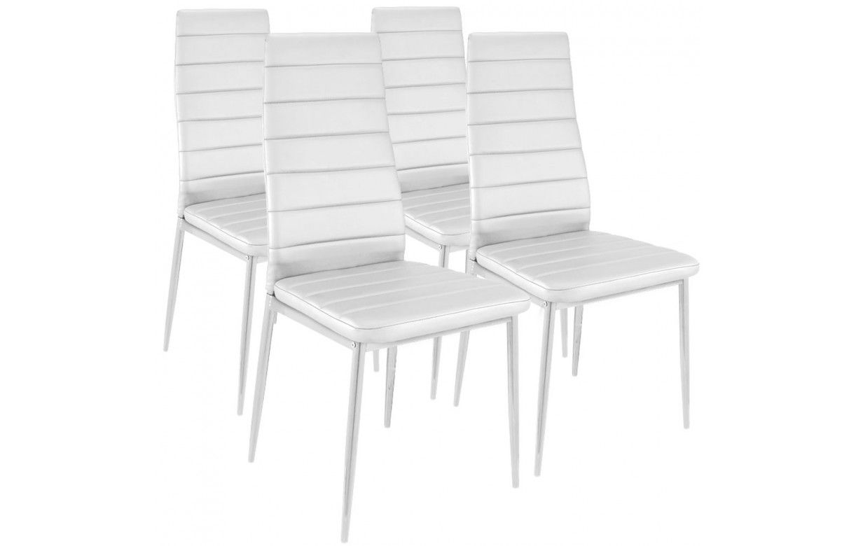 chaise simili cuir gain de place lot de 4. Black Bedroom Furniture Sets. Home Design Ideas