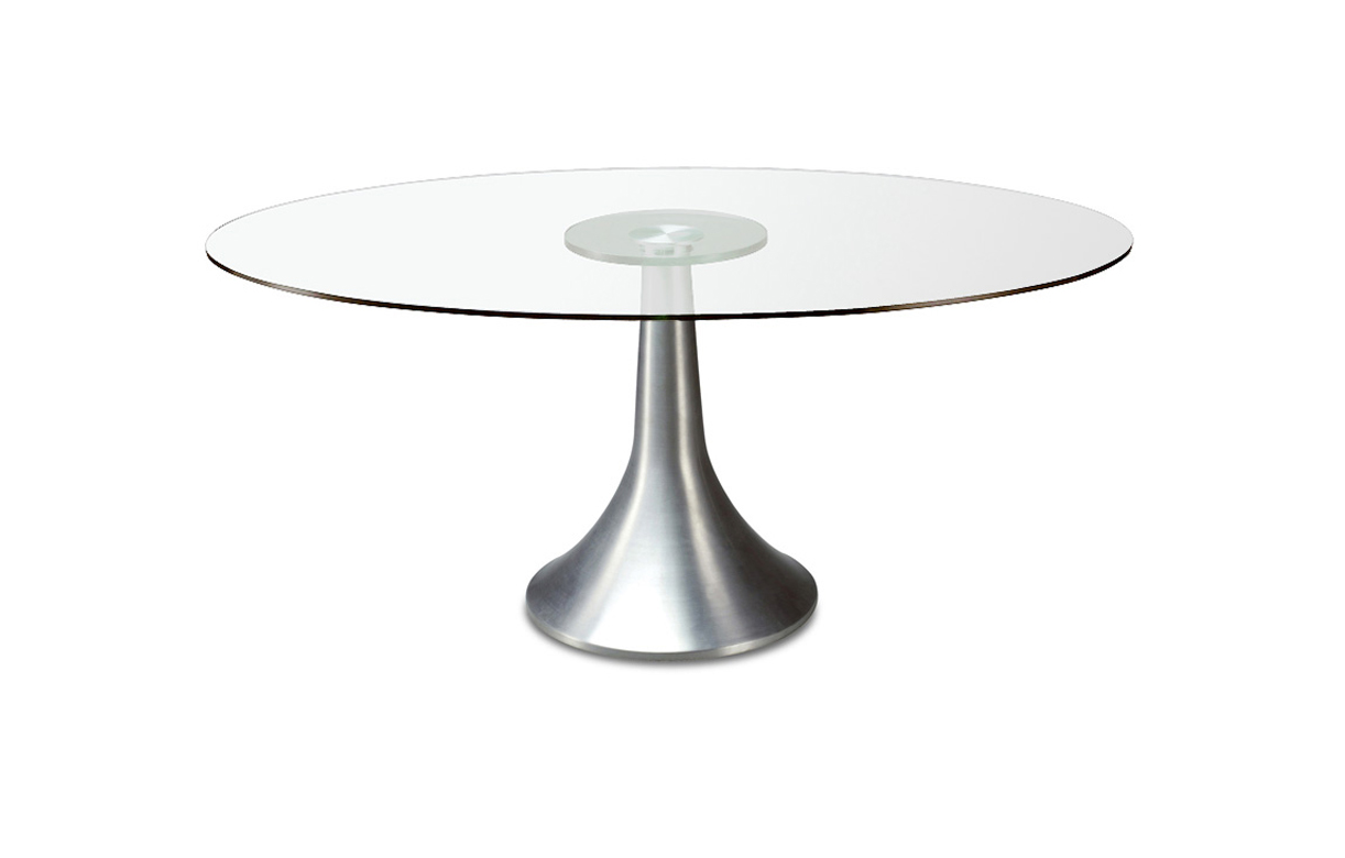 Table de repas ronde en verre transparent for Table repas ronde