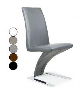 Chaise en simili cuir et acier chromé Size - 5 coloris -
