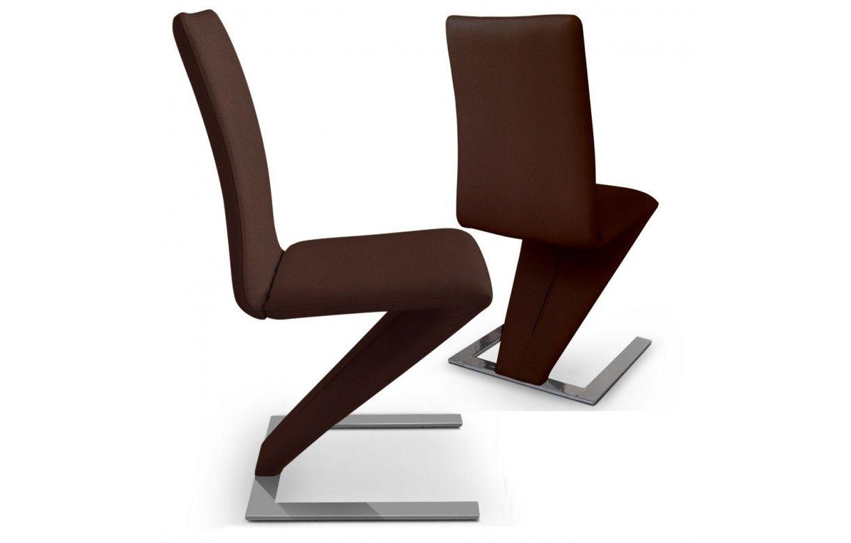 Lot de 2 chaises en cuir pu et pi tement design sizebis - Chaises en cuir design ...