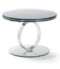 Table basse ronde extensible en verre trempé 12mm Brina -